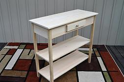 Unfinished Pine Tall Foyer Entry Table TV Stand Shaker Squar