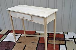 Unfinished Pine Tall Foyer Entry Table TV Stand Tapered Leg