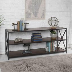 "WE Furniture AZS60XMWDW Console Table 60"" Dark Walnut/Black"