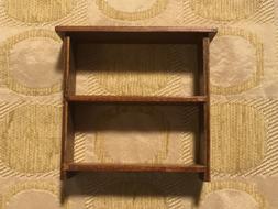 Vintage DollHouse Miniature Wood 2 Shelf Book Shelves TV Sta