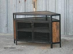 Vintage Industrial TV Stand, Corner Unit, Entertainment Cent