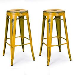 Joveco 30-inch Vintage Inspired Metal Bar Stools Antique Dis