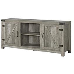 """WE Furniture W58BDSDGW Barn Door TV Stand, 58"""", Grey Wash"""