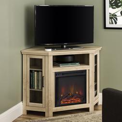 Walker Edison White Oak Corner Fireplace TV Stand for TVs up