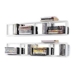 Wall Mount 34 Inch Media Storage Rack CD DVD Organizer Metal