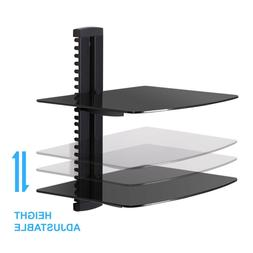 Fitueyes TV Wall Mount Bracket 2-Tier Dual Glass AV Shelf fo