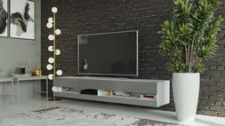 Wall Mounted Floating TV Stand 71'' Long with LED, Glossy Fr