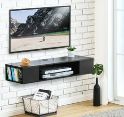 FITUEYES Black Floating TV Stand ,Wall Mounted Media Console