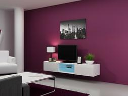 Wall Mounted TV Stand 71'' Long with LED, High Gloss Fronts