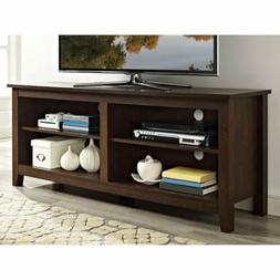 Walnut Finish TV Stand Home Entertainment Media Audio Storag