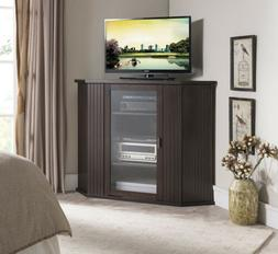 Kings Brand Walnut Finish Wood Corner TV Stand Storage Conso