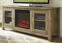 "WE Furniture 58"" Wood Media TV Stand Console with Fireplace"