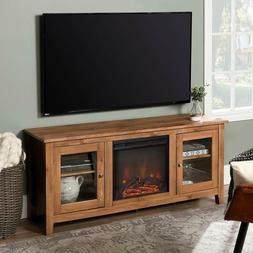 WE Furniture Traditional Wood Fireplace Stand for TV's up to