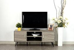 Weathered Grey Oak Finish TV Entertainment Center Console Ca