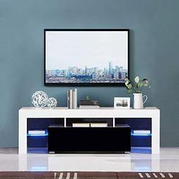 White & Black Gloss TV Stand Cabinet with LED Media Console