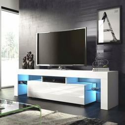 USA 130cm White High Gloss LED Light Shelves TV Stand Unit C