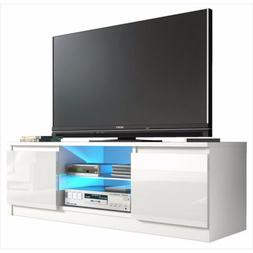 White High Gloss TV Stand Console Unit Cabinet with LED Ligh