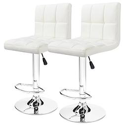 Furmax Bar Stools White Modern Pu Leather Swivel Adjustable