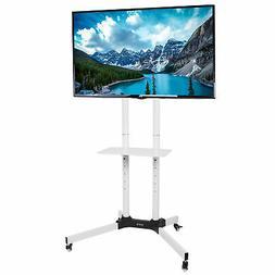 VIVO White Mobile TV Cart for LCD LED Plasma Flat Panel Stan