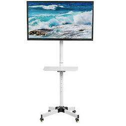 VIVO White Mobile TV Cart for LCD LED Plasma Flat Screen Pan