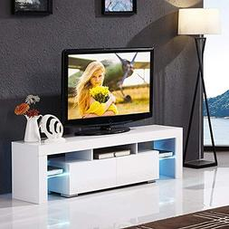 Mecor White TV Stand with LED Lights, 63 Inch TV Console Cab