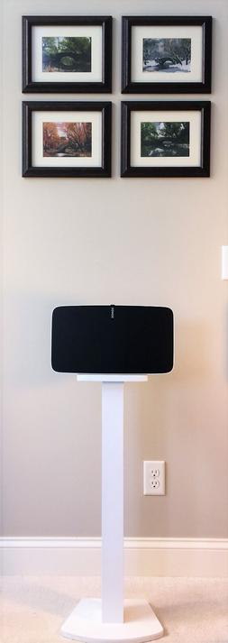 Beautiful White Wood Single Speaker Stand Handcrafted for SO