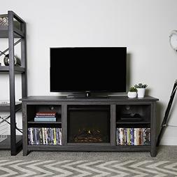 New 58 Inch Wide Charcoal Colored Television Stand with Fire