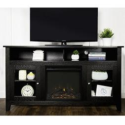 New 58 Inch Wide Highboy Fireplace Television Stand-Black Fi