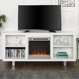 New 58 Inch Wide Simple Modern Fireplace Television Stand in