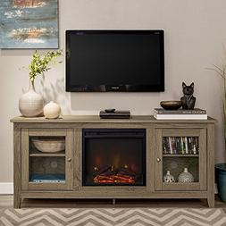 New 58 Inch Wide Television Stand with Fireplace in Driftwoo