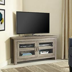 "WE Furniture 44"" Wood Corner TV Stand, Driftwood"