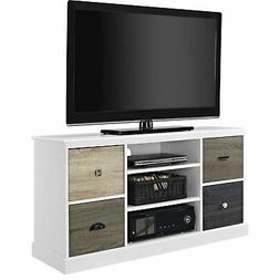 White Wood Finish TV Stand with Multi Wood Grain Finish Draw