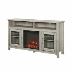 "WE Furniture 58"" Wood Highboy Fireplace Media TV Stand Conso"