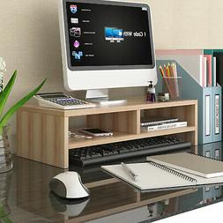 Wood Monitor Stand Speaker TV PC Laptop Computer Screen Rise