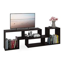 DEVAISE Wood TV Stand Console,2 Pieces Bookcase/Bookshelf
