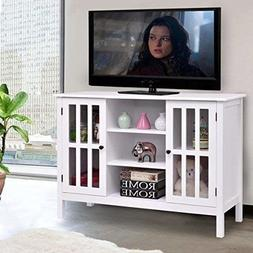 Tangkula Wood TV Stand Storage Console Free Standing Cabinet