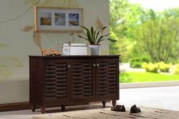 Baxton Studio - Best Dark Brown Wooden Shoe Storage Cabinet