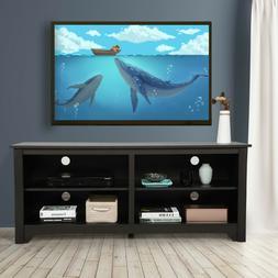 "Wooden TV Stand w/Sliding Barn Door for 65"" TVs Media Cons"