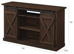 Comfort Smart Wrangler Sliding Barn Door TV Stand, Sawcut Es