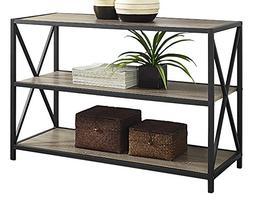 """WE Furniture 40"""" x-Frame Metal & Wood Media Bookshelf - Drif"""